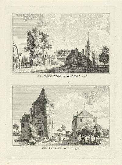 Dorpsgezicht te Till en het Tiller Huis, 1746; Het Dorp Till by Kalkar 1746 / Het Tiller Huys 1746; Dorps- en stadsgezichten te Kleef