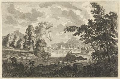 Arcadisch rivierlandschap met vissers, herders en ezels; Italiaanse en Duitse landschappen