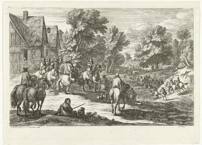 Gezicht op een dorp met ruiters op de voorgrond