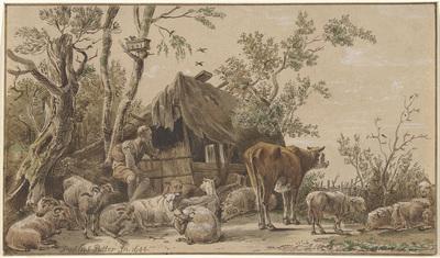 Herder bij stal