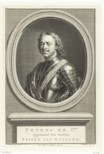 Portret van Peter I de Grote, tsaar van Rusland; Petrus de Iste