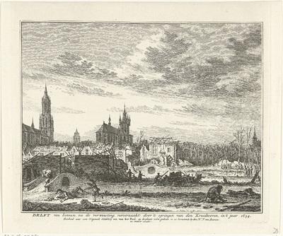 Delft na het ontploffen van de kruittoren, 1654; Delft van binnen na de verwoesting, veroorzaakt door 't springen van den Kruidtooren, in 't jaar 1654