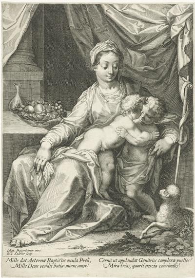 Image from object titled Maria en kind met Johannes de Doper