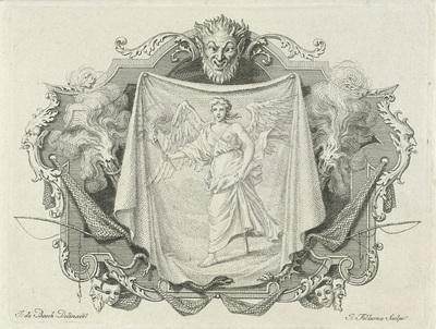 Vignet met de personificatie van de Leugen; Deugden en ondeugden