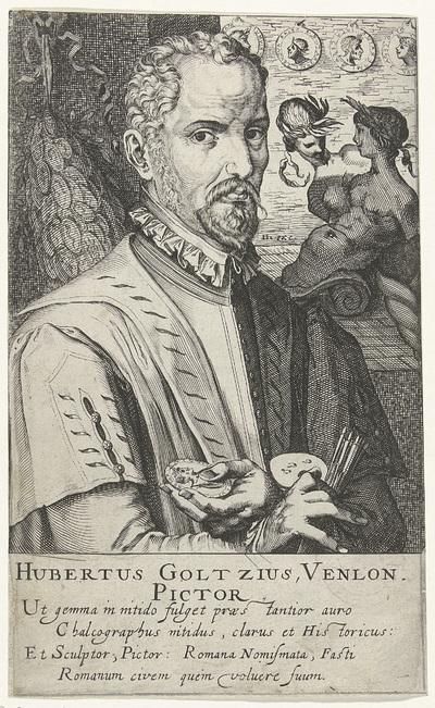 Portret van Hubert Goltzius; Hubertus Goltzius Venlon. Pictor; Schildersportretten