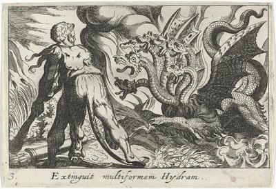 Hercules in gevecht met de hydra van Lerna; Extinguit multiformen Hydram; Herculische thema's