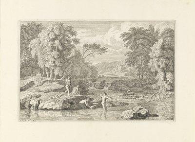 Arcadisch landschap met vier badende vrouwen; Arcadische landschappen