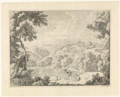 Actaeon wordt door de badende Diana in een hert veranderd; Landschappen naar Gaspar Poussin