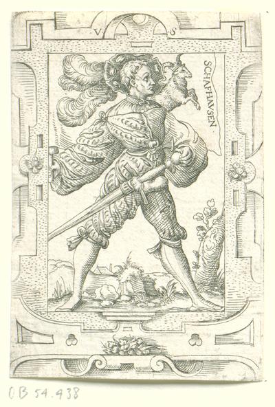 Vaandeldrager met vaandel van Schaffhausen; Schafhausen; Zwitserse vaandeldragers