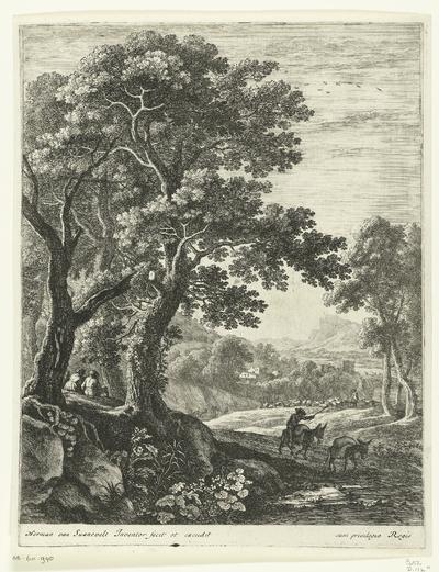 Ezeldrijver in een berglandschap; Landschappen