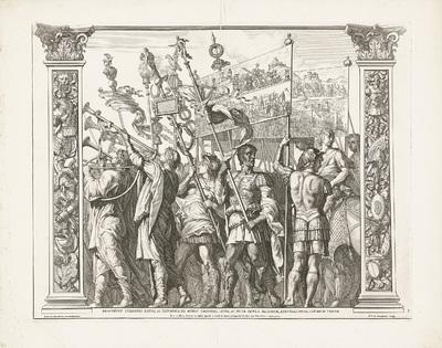 Soldaten dragen spandoeken met de heldendaden van Caesar; Triomf van Caesar