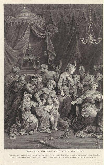 Alexander de Grote bij de familie van Darius; Superatis hostibus regium est abstinere.