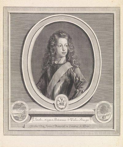 Portret van Jacobus Frans Eduard Stuart; Jacobo magnae Britanniae Et Walliae Principi