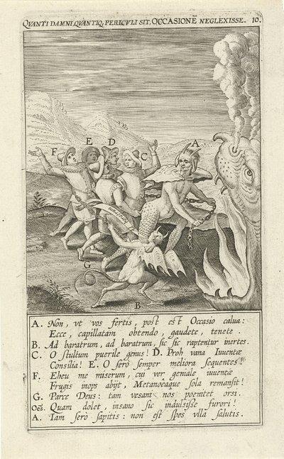 Zondige jongeren worden afgevoerd naar de hel; Qvanti samni quvantio pericvli sit Occasione Neglexisse; Emblemen over tijd en het benutten van kansen; Typus occasionis in quo receptae commoda