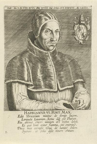 Portret van paus Adrianus VI; Hadrianvs VI Pont. Max.; Portretten van beroemde Nederlandse en Vlaamse geleerden; Illustrium Galliae Belgicae scriptorum icones et elogi