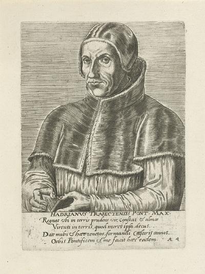 Portret van paus Adrianus VI; Hadrianvs Traiectensis pontifex maximvs; Portretten van beroemde Europese geleerden; Virorum doctorum de Disciplinis benemerentium effigies
