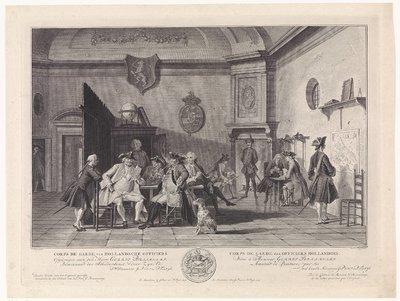 Wachtlokaal met lezende, rokende en kaartspelende officieren; Corps de Garde van Hollandsche Officiers / Corps de Garde des Officiers Hollandois
