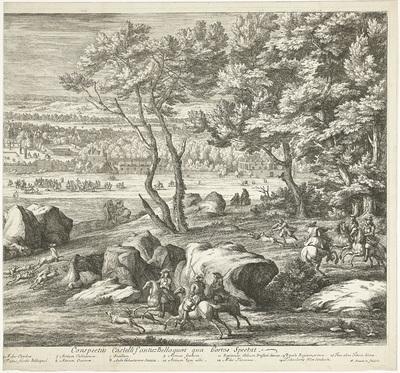 Gezicht op het kasteel van Fontainebleau (rechterblad); Veuë du Chasteau de Fontainebleau du costé du Jardin