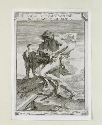 Titelprent 'Maphaei... Barberini... Poemata': David de leeuw wurgend