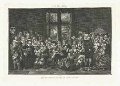De schuttersmaaltijd in de Voetboogdoelen of St. Jorisdoelen te Amsterdam ter viering van het sluiten van de vrede van Munster, 18 juni 1648; Les Hollandais jurant la Trève de 1609