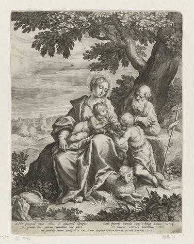 Heilige Familie met Johannes de Doper in een landschap