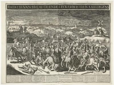 Gevecht tussen de heer van Breauté en Gerrit Abrahamsz. Lekkerbeetje op de Vughterheide, 1600; Batalie van Breaute, ende Leckerbeetien. XXII tegens XXII