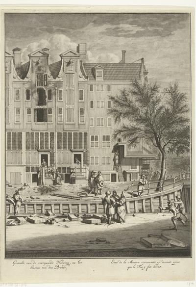 Uitgebrand huis op de Leidsegracht, 1684; Gestalte van de voorgaande huizing, na het blussen van den brandt / Etat de la maison representée cy devant, apres que le feu y fut éteint