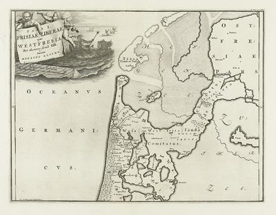 Historische kaart van Nederland met de gebieden van de Bataven en Friezen; Pars I Frisiae Liberae quae WestFresia