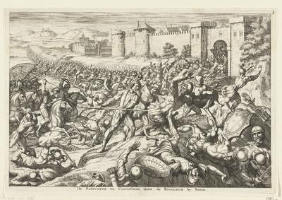 Duitsers komen om Civilis te helpen bij Bonn de Romeinen te verslaan, 69-70; De Batavieren en Caninefaten slaen de Romainen by Bonna