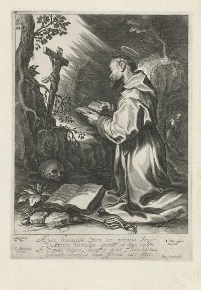 De heilige Franciscus, knielend voor crucifix