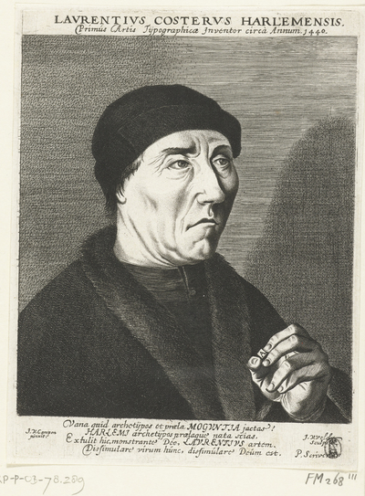 Image from object titled Portret van Laurens Jansz. Coster; Lavrentivs Costervs Harlemensis. Primus Artis Tijpographicae Inventor circa Annum 1440