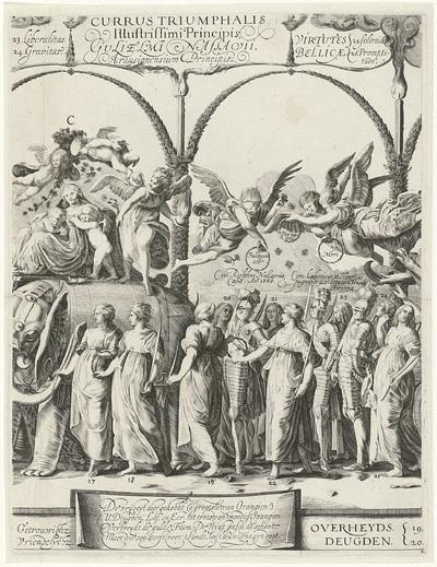 Triomftocht van Willem van Oranje, plaat c; Currus triumphalis Illustris / Triomftocht van Willem van Oranje