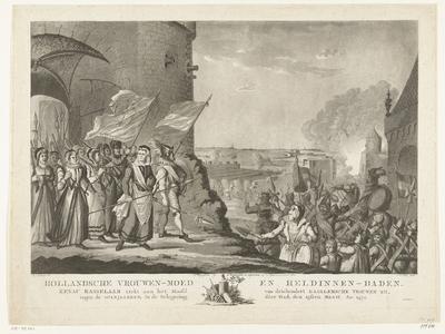 Kenau tijdens het beleg van Haarlem, 1573; Hollandsche vrouwen-moed en heldinnen-daden. Kenau Hasselaar trekt aan het Hoofd van driehondert Haarlemsche Vrouwen uit, tegen de Spanjaarden, in de belegering dier Stad, den...