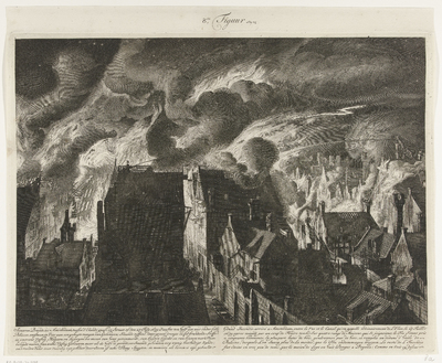 Image from object titled Het blussen van de zware brand aan de Elandsgracht, 1679; Swaaren brandt, tot Amsterdam, tussen d'Elands graft en straat, op den 27 july 1679 (…) / Grand incendie, arrivé a Amsterdam entre la rue et le canal, qu'on appelle ordinairement de l'Elan, le 27 juillet 1679 (…)
