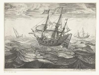 Koopvaardijschip op zee, ca. 1600