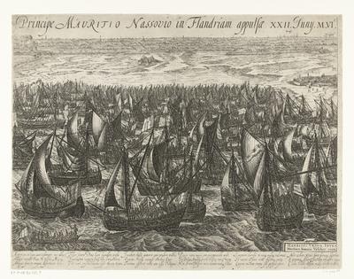 De vlootlanding bij Philippine (rechterblad), 1600; Ectypoma classis bis mille octingentarum navium Ductore Illustrissimo Principe Mauritio Nassovio in Flandriam appulsae. XXII. Juny. M.VI.C.