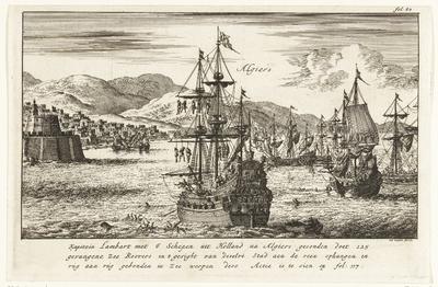 Kapitein Lambert Hendrikszoon laat 125 zeerovers ophangen aan de ra's van zijn schepen of in zee gooien voor de haven van Algiers, ca. 1619; Kapitein Lambart met 6 Schepen uit Holland na Algiers gesonden doet 125 gevangene...