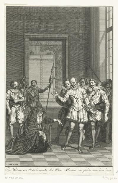 De weduwe van Johan van Oldenbarnevelt smeekt Maurits om genade voor haar zoon Reinier, 1623; De Weduwe van Oldenbarneveld bid Prins Maurits om genade voor haar Zoon