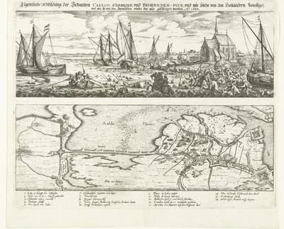 Mislukte aanval op fort Kallo, 1638; Eigentliche Abbildung der Schantzen Calloo, Verbroek und Beverschen-Dyck und wie solche von den Holländern bevestiget, und wie sie von den Spanischen wieder dar aus geschlagen worden,...