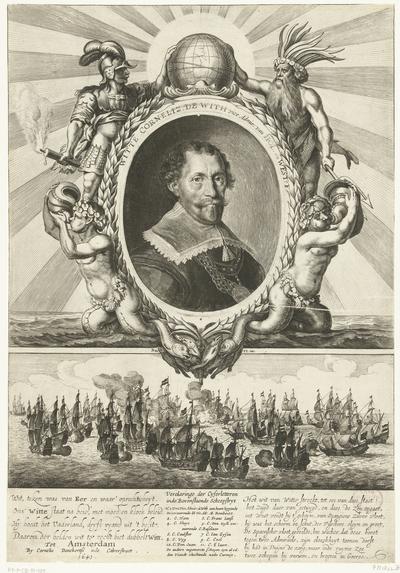 Allegorie op de overwinning van Witte de With op de Duinkerker vice-admiraal Rombouts, 1640