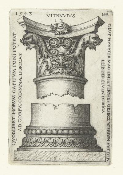 Kapiteel, gedecoreerd met twee vissenkoppen en bladranken; Vitrvvivs I; Dorische kapitelen en basementen naar Vitruvius
