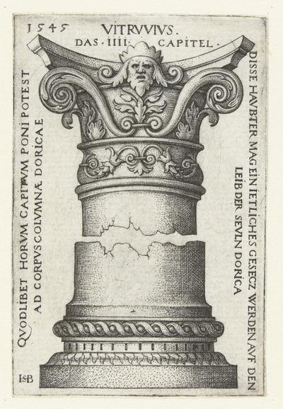 Kapiteel, gedecoreerd met een mascaron en bladranken; Vitrvvivs das IIII capital; Dorische kapitelen en basementen naar Vitruvius