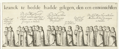 Begrafenisoptocht van Willem Frederik, graaf van Nassau-Dietz (blad 20), 1665; Rouw-Staetelijcke Lijk-pracht in de Uyt-Vaert en Begraefenisse van het ont-zielde Lichaem van (...) Wilhelm Frederich (...) Overleden binnen...