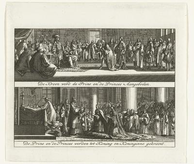 De kroning van de prins en prinses tot koning en koningin van Engeland, 1689; De Kroon word de Prins en de Princes Aangeboden / De Prins en de Princes worden tot Koning en Koninginne gekroont