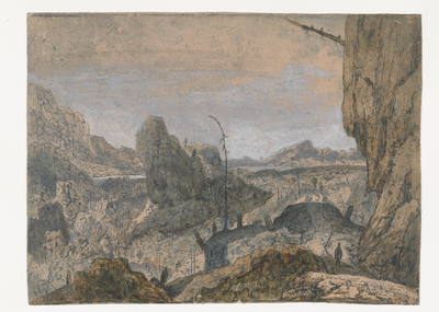 Rocky Landscape with a Man Walking to the Right, First Version