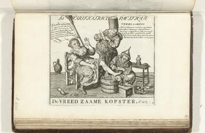 De vreedzame kopster, 1713; La Scarificatrice Pacifique / De Vreedzaame Kopster; Platen over de Vrede van Utrecht van 1713 / 't Lusthof van Momus