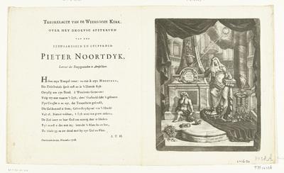 Prent en vers op het overlijden van de doopsgezinde voorganger Pieter Noortdyk, 1708; Treurklagte van de Weerloze Kerk, over het droevig afsterven van den eerwaardigen en geleerden Pieter Noortdyk, Leeraar der...