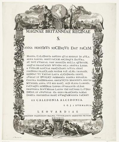 Allegorie ter ere van koningin Anna in het bereiken van de Vrede van Utrecht, 1713; Magnae Britanniae Reginae S. Anna Hostibus Sociisque Dat Pacem