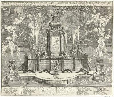 Vuurwerk bij de viering van de Vrede van Utrecht, 1713; Afbeelding van het Uytmuntende vuurwerk opgerecht voor haer Ed: Groot Mogende de Heeren Staeten van Hollant en WestVriesland, en aengestoken den 14 Juni 1713