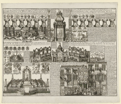 Overzicht van de vuurwerken in verschillende plaatsen bij de viering van de Vrede van Utrecht, 1713